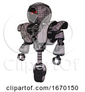 Mech Containing Round Barbed Wire Round Head And Heavy Upper Chest And Heavy Mech Chest And Unicycle Wheel Dark Sketchy Standing Looking Right Restful Pose