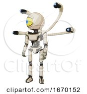Cyborg Containing Giant Eyeball Head Design And Light Chest Exoshielding And Ultralight Chest Exosuit And Blue Eye Cam Cable Tentacles And Ultralight Foot Exosuit Off White Toon