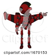 Mech Containing Oval Wide Head And Red Horizontal Visor And Techno Mohawk And Light Chest Exoshielding And Chest Valve Crank And Stellar Jet Wing Rocket Pack And Ultralight Foot Exosuit Dark Red