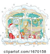 Santa In A Window