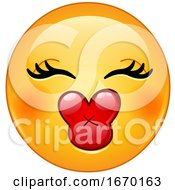 Poster, Art Print Of Smiley Emoji Emoticon With Kiss Lips
