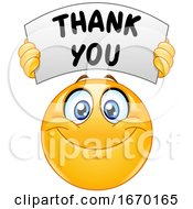 Poster, Art Print Of Smiley Emoji Emoticon Holding A Thank You Banner