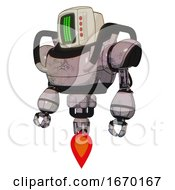 Droid Containing Old Computer Monitor And Three Lines Pixel Design And Red Buttons And Heavy Upper Chest And Jet Propulsion Gray Metal Standing Looking Right Restful Pose