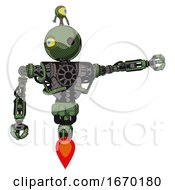 Bot Containing Oval Wide Head And Small Red Led Eyes And Minibot Ornament And Heavy Upper Chest And No Chest Plating And Jet Propulsion Grass Green Pointing Left Or Pushing A Button