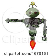 Bot Containing Oval Wide Head And Small Red Led Eyes And Minibot Ornament And Heavy Upper Chest And No Chest Plating And Jet Propulsion Grass Green Arm Out Holding Invisible Object