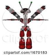 Android Containing Dual Retro Camera Head And Shrimp Head And Light Chest Exoshielding And Minigun Back Assembly And No Chest Plating And Light Leg Exoshielding Red Blood Grunge Material T Pose
