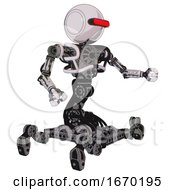 Droid Containing Round Head And Horizontal Red Visor And Heavy Upper Chest And No Chest Plating And Insect Walker Legs White Halftone Toon Interacting