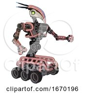 Mech Containing Bird Skull Head And Green Eyes And Head Shield Design And Heavy Upper Chest And No Chest Plating And Six Wheeler Base Toon Pink Tint Interacting