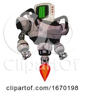 Droid Containing Old Computer Monitor And Three Lines Pixel Design And Red Buttons And Heavy Upper Chest And Jet Propulsion Gray Metal Hero Pose