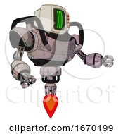 Droid Containing Old Computer Monitor And Three Lines Pixel Design And Red Buttons And Heavy Upper Chest And Jet Propulsion Gray Metal Interacting