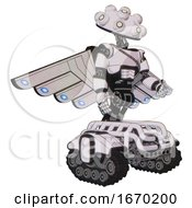 Automaton Containing Techno Multi Eyed Domehead Design And Light Chest Exoshielding And Cable Sash And Cherub Wings Design And Tank Tracks White Halftone Toon Facing Left View