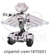 Automaton Containing Techno Multi Eyed Domehead Design And Light Chest Exoshielding And Cable Sash And Cherub Wings Design And Tank Tracks White Halftone Toon Arm Out Holding Invisible Object