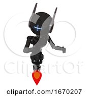 Cyborg Containing Round Head And Vertical Cyclops Visor And Head Winglets And Light Chest Exoshielding And Ultralight Chest Exosuit And Jet Propulsion Dirty Black Fight Or Defense Pose