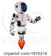 Mech Containing Digital Display Head And Large Eye And Light Chest Exoshielding And Prototype Exoplate Chest And Jet Propulsion White Halftone Toon Interacting