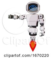 Mech Containing Digital Display Head And Large Eye And Light Chest Exoshielding And Prototype Exoplate Chest And Jet Propulsion White Halftone Toon Arm Out Holding Invisible Object