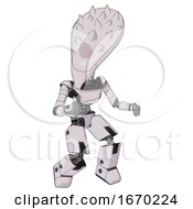 Bot Containing Flat Elongated Skull Head And Spikes And Light Chest Exoshielding And Ultralight Chest Exosuit And Prototype Exoplate Legs White Halftone Toon Fight Or Defense Pose