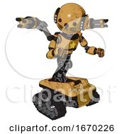 Automaton Containing Round Head And Head Light Gadgets And Light Chest Exoshielding And Yellow Star And Minigun Back Assembly And Tank Tracks And Cat Face Construction Yellow Halftone