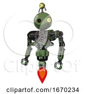 Bot Containing Oval Wide Head And Small Red Led Eyes And Minibot Ornament And Heavy Upper Chest And No Chest Plating And Jet Propulsion Grass Green Standing Looking Right Restful Pose
