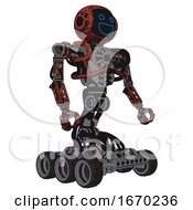 Droid Containing Digital Display Head And Wide Smile And Heavy Upper Chest And No Chest Plating And Six Wheeler Base Grunge Matted Orange Facing Left View