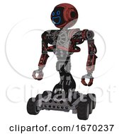 Droid Containing Digital Display Head And Wide Smile And Heavy Upper Chest And No Chest Plating And Six Wheeler Base Grunge Matted Orange Standing Looking Right Restful Pose