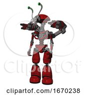 Android Containing Dual Retro Camera Head And Shrimp Head And Light Chest Exoshielding And Minigun Back Assembly And No Chest Plating And Light Leg Exoshielding Red Blood Grunge Material