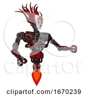 Robot Containing Humanoid Face Mask And Die Robots Graffiti Design And Heavy Upper Chest And No Chest Plating And Jet Propulsion Grunge Dots Dark Red Interacting