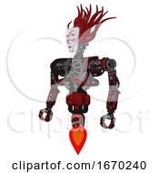 Robot Containing Humanoid Face Mask And Die Robots Graffiti Design And Heavy Upper Chest And No Chest Plating And Jet Propulsion Grunge Dots Dark Red Standing Looking Right Restful Pose