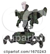 Automaton Containing Humanoid Face Mask And Red Clown Marks And Light Chest Exoshielding And Prototype Exoplate Chest And Stellar Jet Wing Rocket Pack And Insect Walker Legs Old Corroded Copper