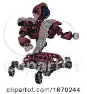 Robot Containing Digital Display Head And Wide Smile And Green Led Array And Heavy Upper Chest And Heavy Mech Chest And Insect Walker Legs Muavewood Halftone Grunge Interacting