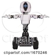 Droid Containing Round Head And Vertical Cyclops Visor And Light Chest Exoshielding And Prototype Exoplate Chest And Tank Tracks White Halftone Toon T Pose