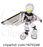 Bot Containing Grey Alien Style Head And Yellow Eyes And Light Chest Exoshielding And Ultralight Chest Exosuit And Pilots Wings Assembly And Light Leg Exoshielding White Halftone Toon
