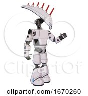 Cyborg Containing Flat Elongated Skull Head And Light Chest Exoshielding And Prototype Exoplate Chest And Light Leg Exoshielding White Halftone Toon Interacting