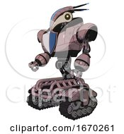 Mech Containing Bird Skull Head And Yellow Led Protruding Eyes And Head Shield Design And Heavy Upper Chest And Blue Shield Defense Design And Tank Tracks Grayish Pink Facing Right View