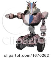 Mech Containing Bird Skull Head And Yellow Led Protruding Eyes And Head Shield Design And Heavy Upper Chest And Blue Shield Defense Design And Tank Tracks Grayish Pink