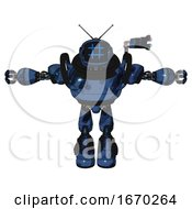 Automaton Containing Digital Display Head And Hashtag Face And Retro Antennas And Heavy Upper Chest And Light Leg Exoshielding And Stomper Foot Mod Grunge Dark Blue T Pose
