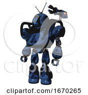 Automaton Containing Digital Display Head And Hashtag Face And Retro Antennas And Heavy Upper Chest And Light Leg Exoshielding And Stomper Foot Mod Grunge Dark Blue
