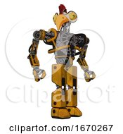 Cyborg Containing Bird Skull Head And Brass Steampunk Eyes And Chicken Design And Heavy Upper Chest And No Chest Plating And Prototype Exoplate Legs Worn Construction Yellow Hero Pose