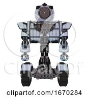 Automaton Containing Green Dot Eye Corn Row Plastic Hair And Heavy Upper Chest And Heavy Mech Chest And Barbed Wire Chest Armor Cage And Tank Tracks Blue Tint Toon Front View