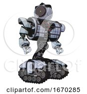 Automaton Containing Green Dot Eye Corn Row Plastic Hair And Heavy Upper Chest And Heavy Mech Chest And Barbed Wire Chest Armor Cage And Tank Tracks Blue Tint Toon Hero Pose
