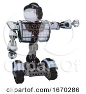 Automaton Containing Green Dot Eye Corn Row Plastic Hair And Heavy Upper Chest And Heavy Mech Chest And Barbed Wire Chest Armor Cage And Tank Tracks Blue Tint Toon