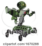 Robot Containing Oval Wide Head And Yellow Eyes And Light Chest Exoshielding And Red Energy Core And Stellar Jet Wing Rocket Pack And Insect Walker Legs Grass Green Interacting