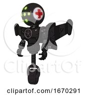 Android Containing Round Head And Green Eyes Array And First Aid Emblem And Light Chest Exoshielding And Chest Valve Crank And Stellar Jet Wing Rocket Pack And Unicycle Wheel