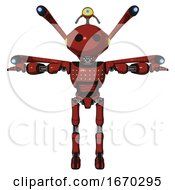 Bot Containing Oval Wide Head And Minibot Ornament And Light Chest Exoshielding And Chest Green Blue Lights Array And Blue Eye Cam Cable Tentacles And Ultralight Foot Exosuit Cherry Tomato Red