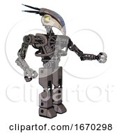 Android Containing Bird Skull Head And Big Yellow Eyes And Head Shield Design And Heavy Upper Chest And No Chest Plating And Prototype Exoplate Legs Light Pink Beige Interacting