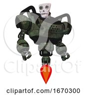 Robot Containing Humanoid Face Mask And Skeleton War Paint And Heavy Upper Chest And Jet Propulsion Old Corroded Copper Hero Pose