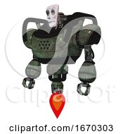 Robot Containing Humanoid Face Mask And Skeleton War Paint And Heavy Upper Chest And Jet Propulsion Old Corroded Copper Standing Looking Right Restful Pose