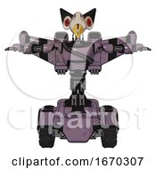 Robot Containing Bird Skull Head And Red Led Circle Eyes And Robobeak Design And Light Chest Exoshielding And Rubber Chain Sash And Stellar Jet Wing Rocket Pack And Tank Tracks Lilac Metal T Pose