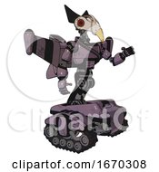 Robot Containing Bird Skull Head And Red Led Circle Eyes And Robobeak Design And Light Chest Exoshielding And Rubber Chain Sash And Stellar Jet Wing Rocket Pack And Tank Tracks Lilac Metal
