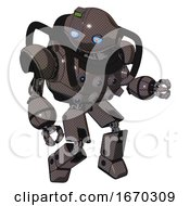 Robot Containing Oval Wide Head And Blue Eyes And Green Led Ornament And Heavy Upper Chest And Chest Energy Sockets And Prototype Exoplate Legs Light Brown Fight Or Defense Pose