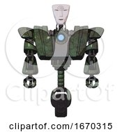 Droid Containing Humanoid Face Mask And Spiral Design And Heavy Upper Chest And Heavy Mech Chest And Blue Energy Fission Element Chest And Unicycle Wheel Old Corroded Copper Front View